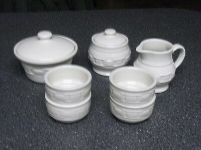 Longaberger Woven Tradtitions Pottery- Ivory Pottery Lot- USA- EUC