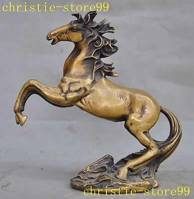 "9""Old Chinese Fengshui Bronze Auspicious Success Zodiac Tang Horse Animal Statue"