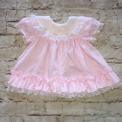 Vintage Pink With White Polkadot Dress by CUTEST ONE Made In The USA 12 Month