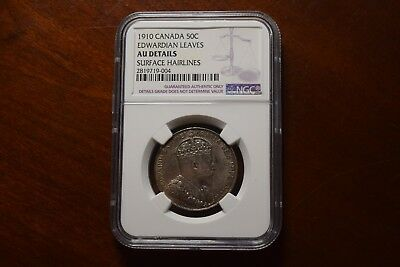 Canada 1910 Edward Leaves 50 Cent Silver Coin, NGC AU Details