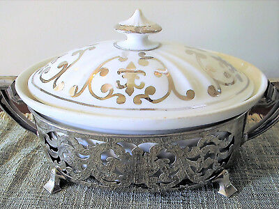 Syracuse China Casserole Silver Case Vintage Royal Porcelain Serving Dinner