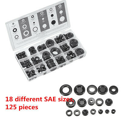 Rubber Grommet Firewall Wiring Cable Gasket Assortment Case Set 18 Size 125 Pc