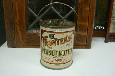 Vintage FRONTENAG Peanut Butter Tin Litho Can w Bail Handle 12 oz. Great Shape