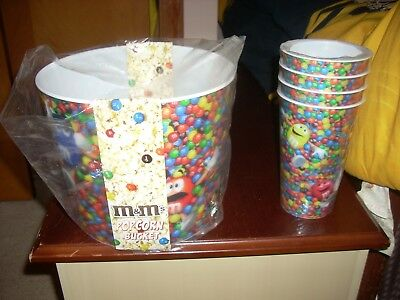 NEW M&Ms & Popcorn Snack Bucket AND 4 CUPS Movie Night with the M&M Guys