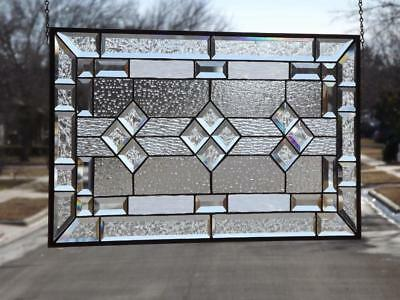 """• Classic Clear• #2220Beveled Stained Glass Window Panel≈ 28 1/2""""x16 1/2""""(72x42"""