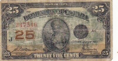 1923 Canada 25 Cents Fractional Note, Pick 11b