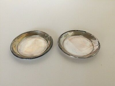 """Vintage pair S Kirk & Sons Sterling Silver Butter Pat Plates 2.75"""""""
