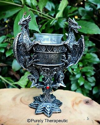 DRAGON CROSS CANDLE HOLDER Celtic Gothic Wicca Pagan Altar Ritual Votive Fantasy