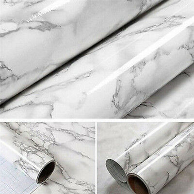 White Marble Contact Paper Gray Self Adhesive Shelf Liner Vinyl Film Home Decor