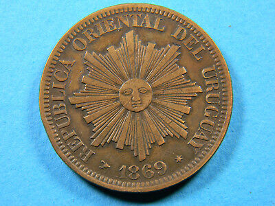 Uruguay 1869 4 Centésimos (01116)  1 year type Great Condition!