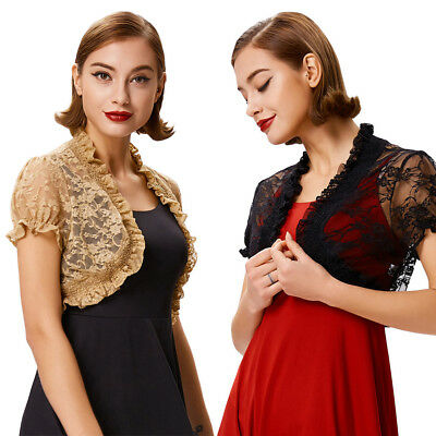 Summer Women's Bolero Vintage See-Through Short Sleeve Open Front Lace Shrug Top
