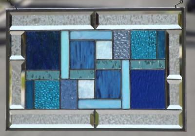 """•Blue Lagoon •Beveled Stained Glass Window Panel •20 ½""""x 12 ½"""" (52x32cm)"""