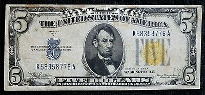 DH Fr 2307 1934 $5 North Africa Yellow Seal Federal Reserve Note