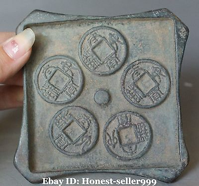 Old Rare Chinese Bronze Ancient Dynasty Wealth Moeny Coin Mould Statue
