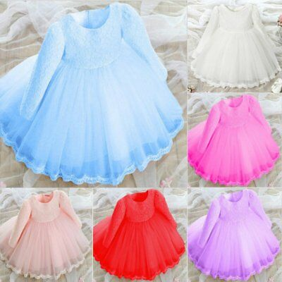US Baby Girls Lace Princess Dress Wedding Party Flower Bowknot Bridesmaid Dress