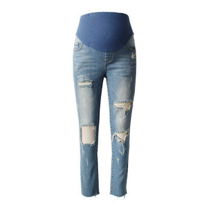 Maternity Jeans Ripped Washed Hole Denim With Adjustable Elastic Belt Pants
