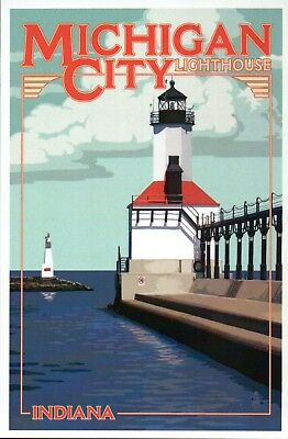 Michigan City Lighthouse Indiana, Breakwater Light Great Lakes - Modern Postcard