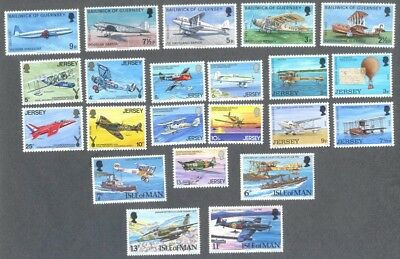 Aviation -Channel islands & isle of Man mnh-5 sets complete mnh