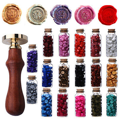 Bottled Sealing Wax Particle Wedding Invitation Wood Stamp Seal Melting Spoon X1