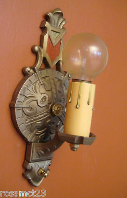 Vintage Lighting three Art Deco Spanish Revival polychrome sconces