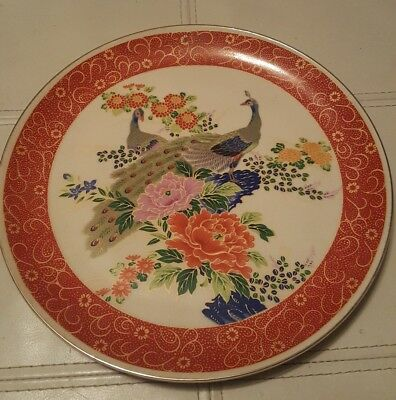 """Satsuma Japan Hand Painted Peacock Plate 10.5"""" Perfect Condition"""