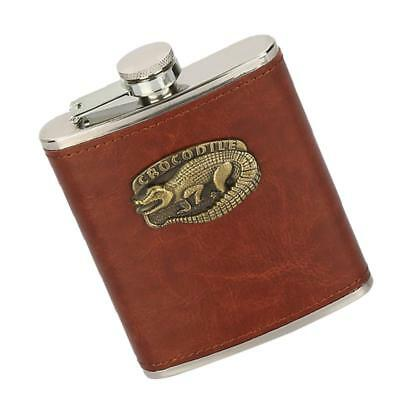 REUSABLE HIP FLASK 8 OZ CAPACITY STAINLESS STEEL LEATHER EFFECT BROWN #1