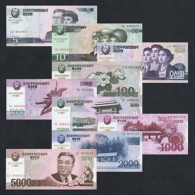 Set 2002-2008 Korea 5 10 50 100 200 500 1000 2000 5000 Won P-Cs9-17 Unc *comm*