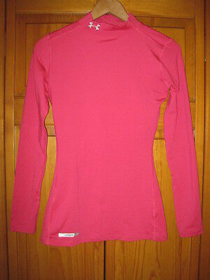 Under Armour Cold Gear Mock Fitted shirt women's XS pink soccer softball running