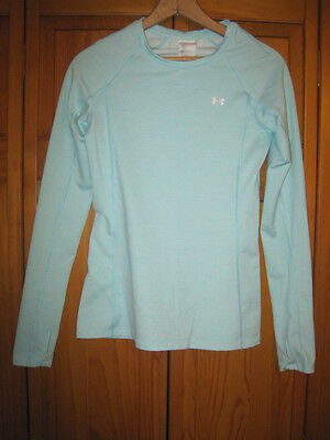 Under Armour Fitted Cold Gear shirt women's L blue running fitness skiing