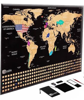 Large Travel Tracker Map - Scratch Off Your Travels On Your World Map Poster