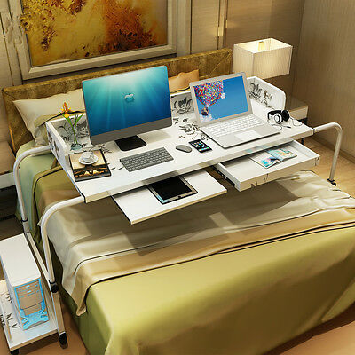 Mobile Overbed Trolley Table Laptop Computer Study Desk Wider Desktop PC Holder