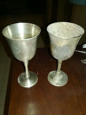 Two (2) Salem of Portugal Silver Plated Chalice Wine Goblet Wedding Toast