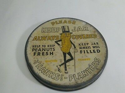 Planter's Peanuts Store Counter Jar Tin Litho Lid Only