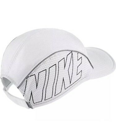 Women s Nike AeroBill Lightweight Running Hat 848376-100 White Black Grey O  301c22405d5