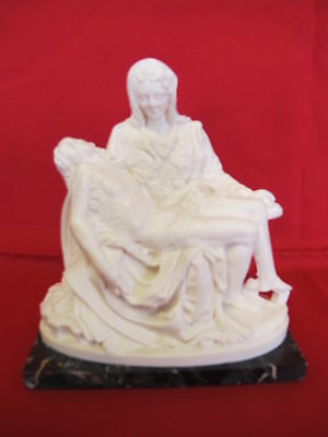 Vintage Pieta Stature Virgin Mary Holding Body of Jesus On Stone Base Italy 6""
