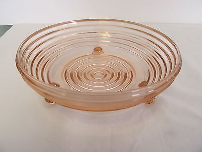 """Pink Depression 3 Footed Manhattan 6.5"""" Low Candy Dish Anchor Hocking"""