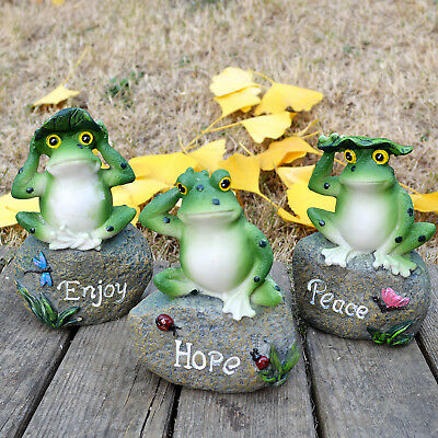 Peace Hope Enjoy Frogs Fairy Garden Statues Art Figurines Outdoor Patio Ornament