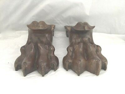 ANTIQUE Victorian era pair of WOODEN LIONS PAWS FEET furniture fittings mounts