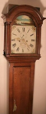 "Antique  Slim Oak "" Truro ""  Longcase / Grandfather Clock"