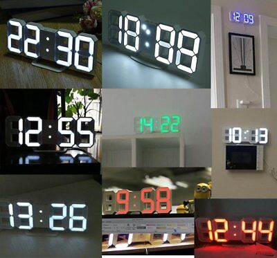 TS-S60-W Large 3D LED Digital Wall Clock Alarm Clock Watch With Snooze Function