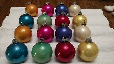 Lot of 16 Vintage Shiny Brite Christmas Ornaments Colorful Solids