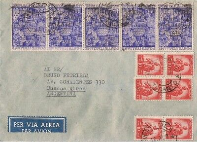 Italy-1950 Nice Cover To Buenos Aires -Strip Of 5 20 Lire Anno Santo