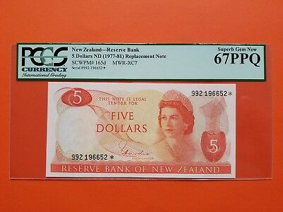 $5 1977-81 New Zealand Replacement Note PCGS67