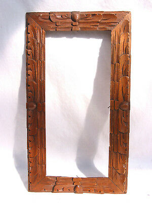 """Beautiful Antique Hand Carved Natural Wood Frame 11.25"""" x 5"""" opening"""