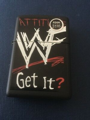 new Old Stock 98 Black Matte ATTITUDE WWF GET IT zippo Lighter In Case