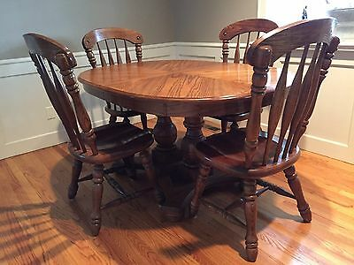 """VINTAGE Solid Oak Oval Double Pedestal Table Expends 60"""" - 96"""" 6 Chairs & Hutch"""