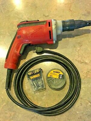 Milwaukee Drywall Gun Sheetrock Screw Shooter with Two Boxes of Bits 20V