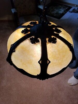 Antique Secessionist Arts & Crafts Hammered Brass Slag Glass Light Fixture Shade