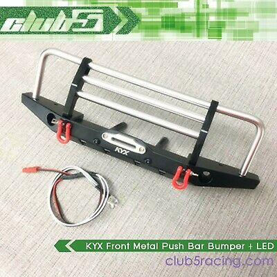 KYX Front Metal Push Bar Bumper + LED Light for TRX-4 SCX10 II