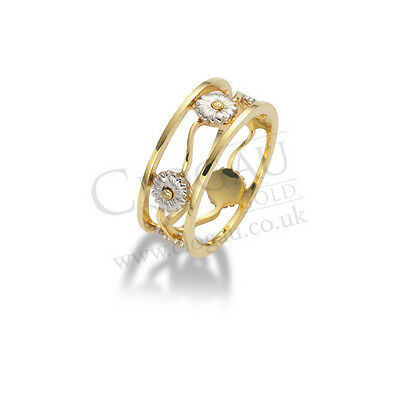 BRAND NEW Official Clogau Gold White & Yellow Gold Daisy Ring SIZE J